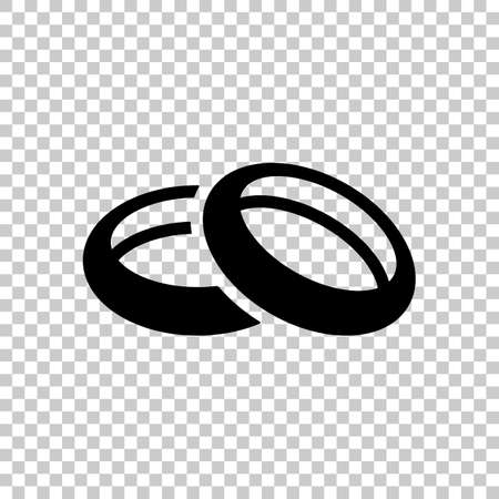 Wedding rings, pair circles, simple icon. Black symbol on transparent background