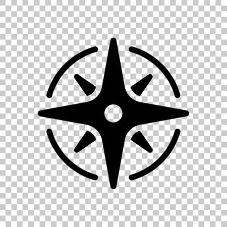 Wind rose, compass with star, icon. Black symbol on transparent background