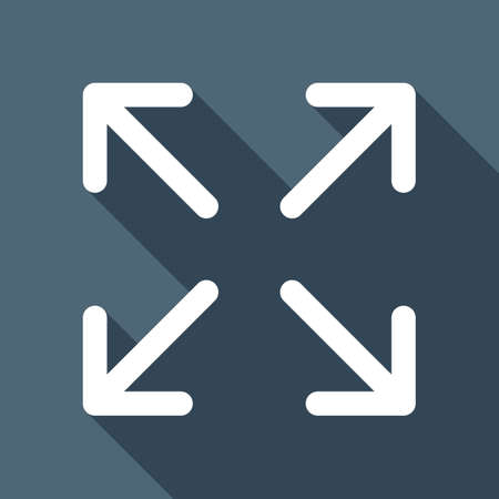 Arrows of four directions, linear icon. White flat icon with long shadow on blue background