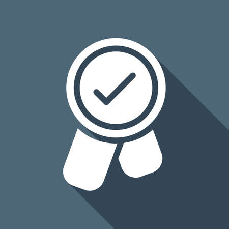 Award with ribbon and check mark, icon. White flat icon with long shadow on blue background