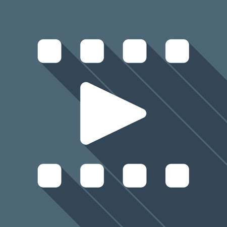 Play movie, watch film, photo strip, media icon. White flat icon with long shadow on blue background