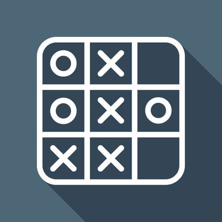 Tic tac toe game, linear outline icon. White flat icon with long shadow on blue background