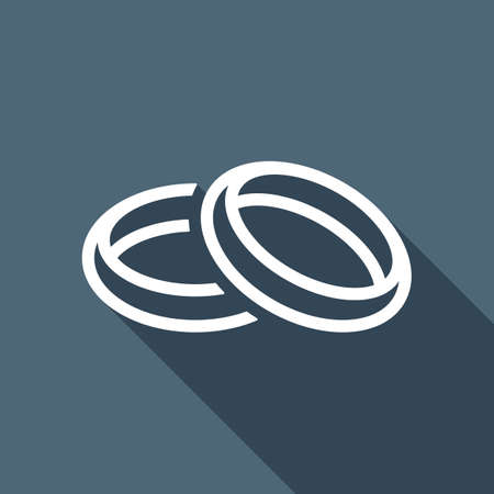 Wedding rings, pair crossed and linked circles, linear outline icon. White flat icon with long shadow on blue background