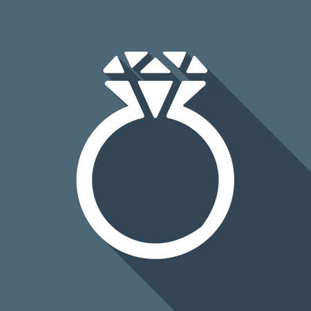 Ring with diamond or brilliant, wedding gift, icon. White flat icon with long shadow on blue background Illustration