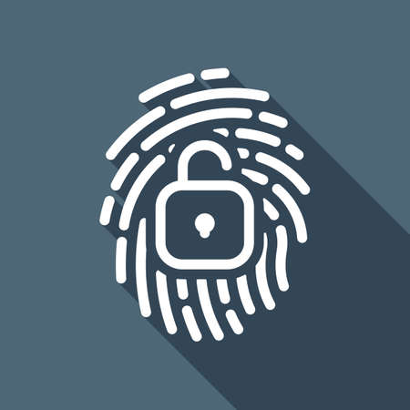 Fingerprint with open lock, personal protect, secutiry icon. White flat icon with long shadow on blue background