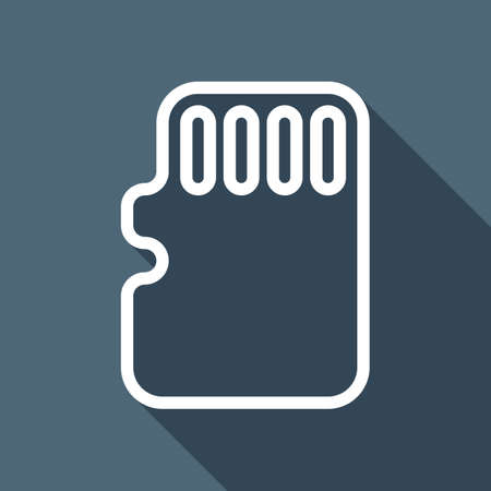 Memory card, micro sd, linear outline technology icon. White flat icon with long shadow on blue background 矢量图像