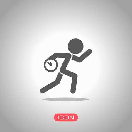 Hombre corriente con reloj. Icono simple. Llegar tarde. Una situación desagradable. Icono de foco. Fondo gris Ilustración de vector