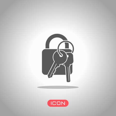 lock with keys icon. Icon under spotlight. Gray background