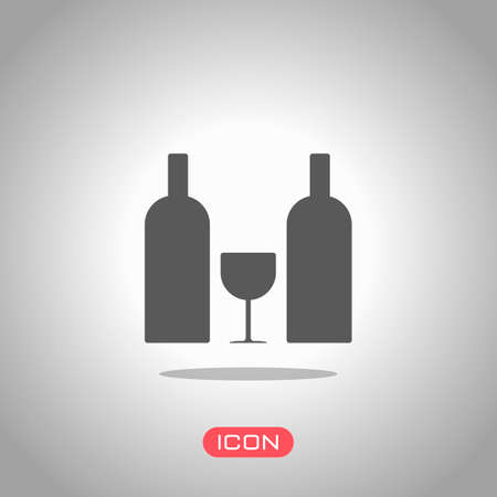 glass and bottles icon. Icon under spotlight. Gray background 向量圖像