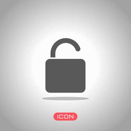 unlock icon. Icon under spotlight. Gray background