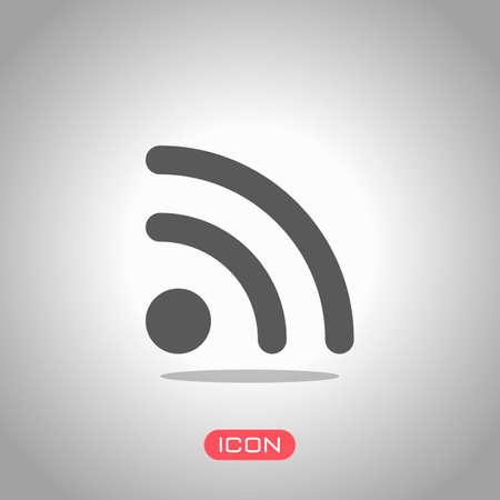 RSS icon. Icon under spotlight. Gray background