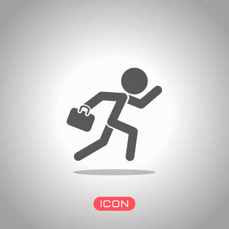 running man with case. Icon under spotlight. Gray background Illustration