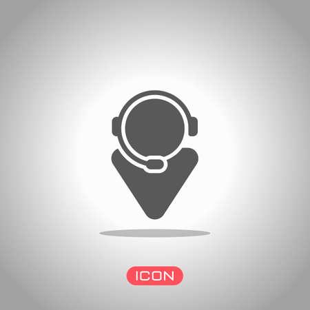 customer service. support service. simple icon. Icon under spotlight. Gray background