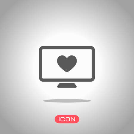 computer and heard. simple icon. Icon under spotlight. Gray background