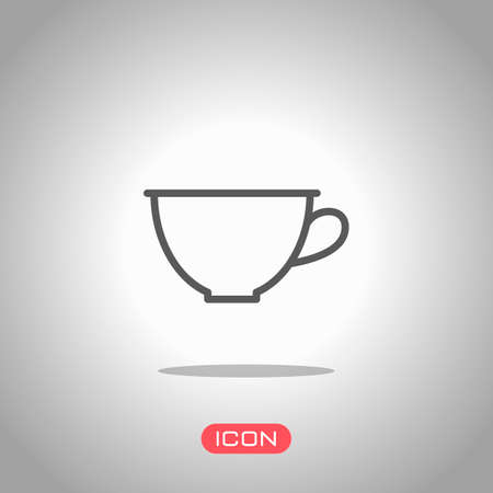 Simple cup of coffee or tea. Linear icon, thin outline. Icon under spotlight. Gray background