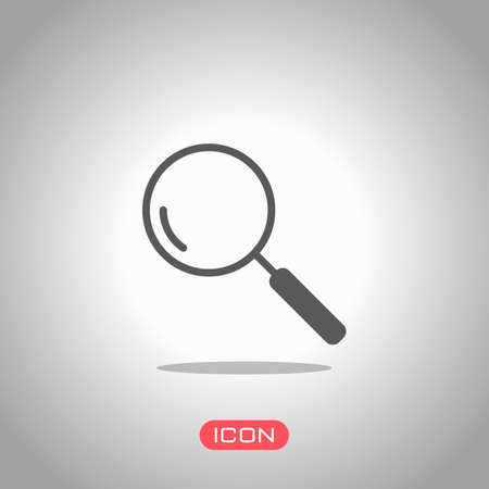 Loupe, search or magnifying. Linear icon, thin outline. Icon under spotlight. Gray background