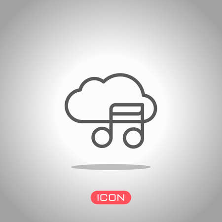 Simple icon with cloud and musical note. Linear symbol, thin outline. Icon under spotlight. Gray background Stock Illustratie