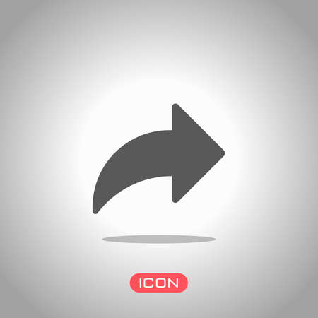 Share icon with arrow. Icon under spotlight. Gray background