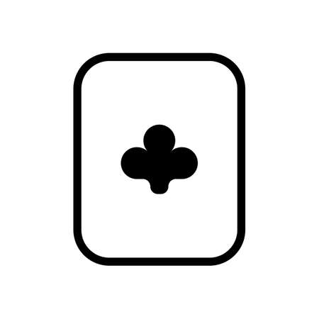 Playing card with clubs. Black icon on white background