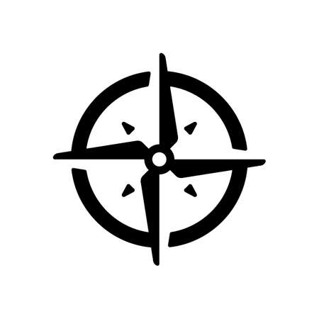 Simple compass or wind rose. Black icon on white background