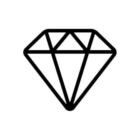Diamond or brilliant, outline design. Black icon on white background  イラスト・ベクター素材