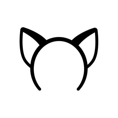 Cat ears band for head. Black icon on white background