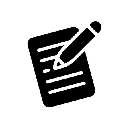 Write text, create or edit document, pencil and paper. Black icon on white background