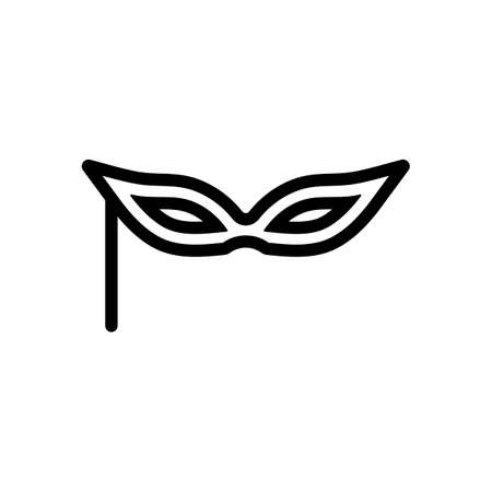 Carnival mask, incognito at the masquerade, linear style. Black icon on white background