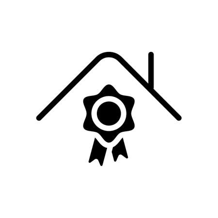 Certification house, certificate of quality for building. Black icon on white background