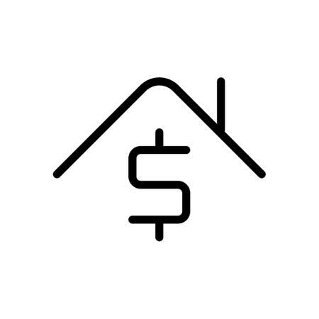 House price, home and dollar, rent logo, outline design. Black icon on white background