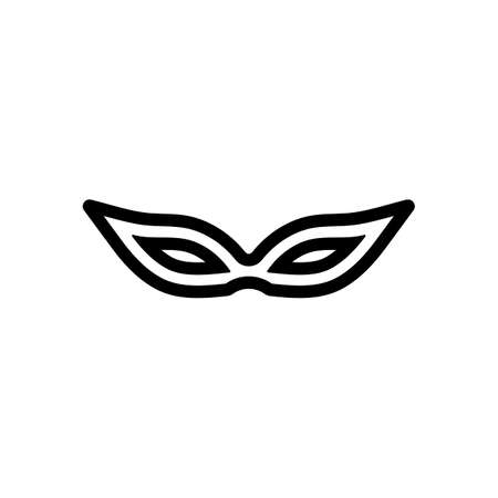 Masquerade mask, carnival or party, outline design. Black icon on white background