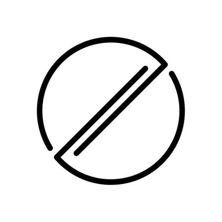 Stop or ban or cancel, simple linear circle. Black icon on white background Illustration