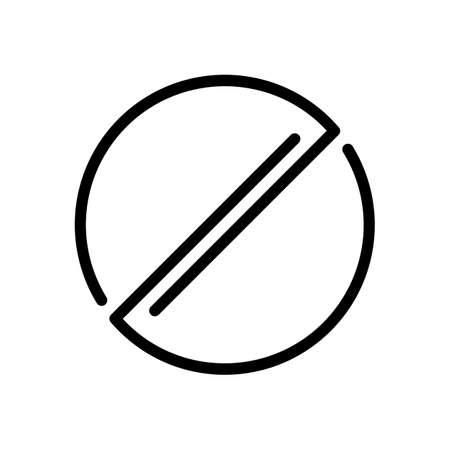 Stop or ban or cancel, simple linear circle. Black icon on white background Illusztráció