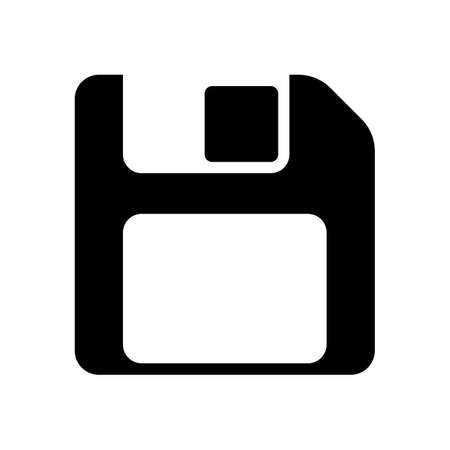 Diskette with empty label, floopy disk, save file. Black icon on white background