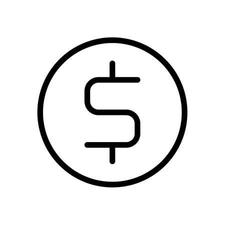 Dollar coin, money sign, outline design. Black icon on white background Illustration
