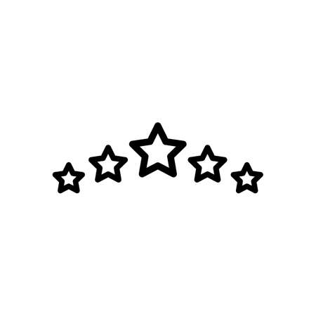 5 stars rating, top service, outline design. Black icon on white background