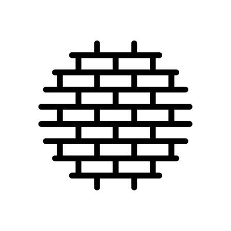 Brick wall, protection  outline design. Black icon on white background Stock Illustratie