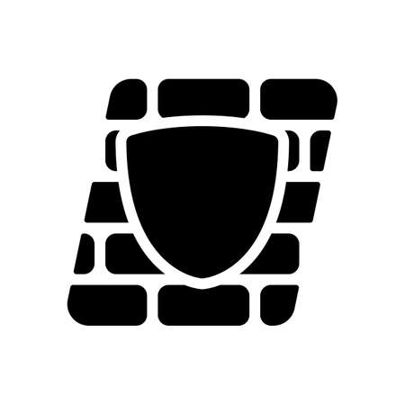 Shield and wall, building protection. Black icon on white background