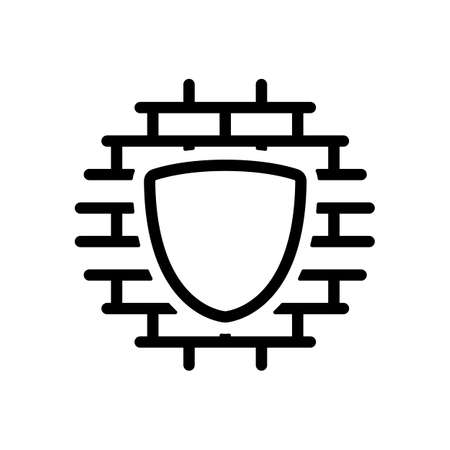Shield and wall, building protection, outline design. Black icon on white background