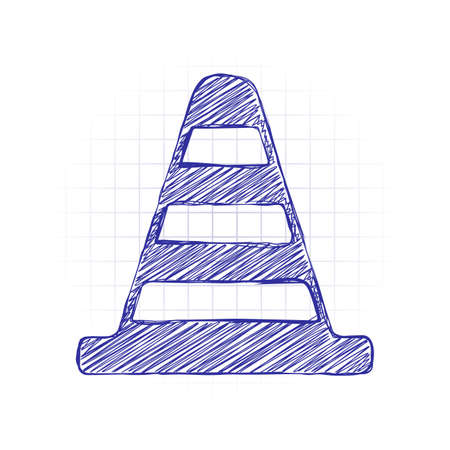 Cone Icon. Hand drawn sketched picture with scribble fill. Blue ink. Doodle on white background  イラスト・ベクター素材