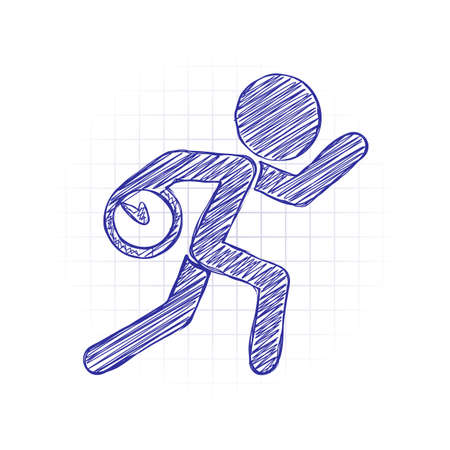 Running man with clock. Simple icon. To be late. An unpleasant situation. Hand drawn sketched picture with scribble fill. Blue ink. Doodle on white background Vectores
