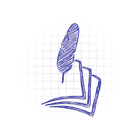 feather and paper. simple silhouette. Hand drawn sketched picture with scribble fill. Blue ink. Doodle on white background