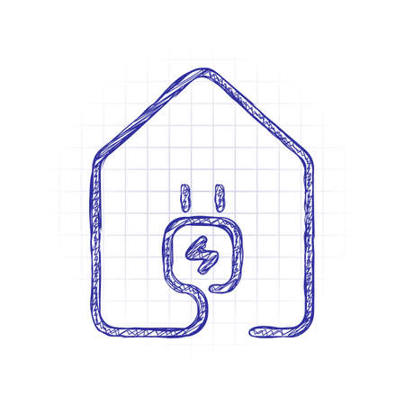 house with electric power plug icon. line style. Hand drawn sketched picture with scribble fill. Blue ink. Doodle on white background