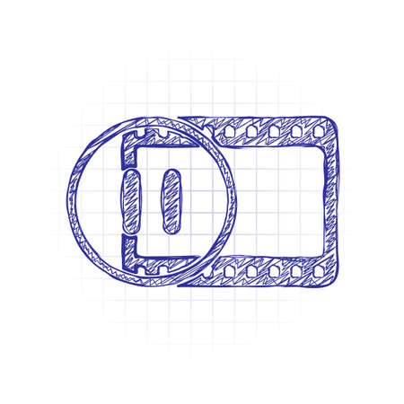 movie strip with pause symbol in circle. simple silhouette. Hand drawn sketched picture with scribble fill. Blue ink. Doodle on white background