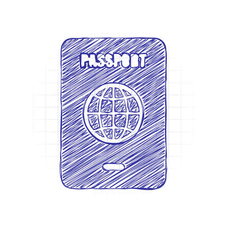 passport, simple icon. Hand drawn sketched picture with scribble fill. Blue ink. Doodle on white background Vectores