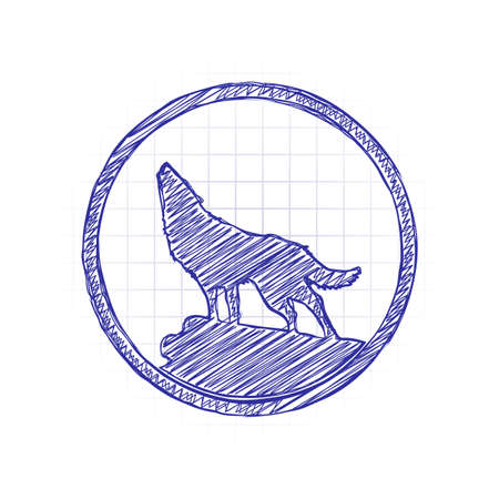 wolf. simple icon. Hand drawn sketched picture with scribble fill. Blue ink. Doodle on white background Illustration