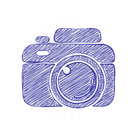 Photo camera, simple icon. Hand drawn sketched picture with scribble fill. Blue ink. Doodle on white background