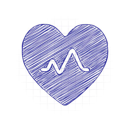 cardiac pulse. heart and pulse line. simple single icon. Hand drawn sketched picture with scribble fill. Blue ink. Doodle on white background