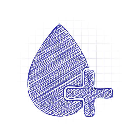 drop of blood and medical cross. simple icon. Hand drawn sketched picture with scribble fill. Blue ink. Doodle on white background