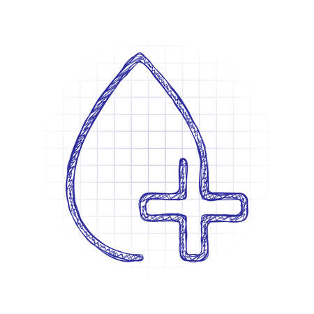 drop of blood and medical cross. linear symbol with thin outline. one line style. Hand drawn sketched picture with scribble fill. Blue ink. Doodle on white background
